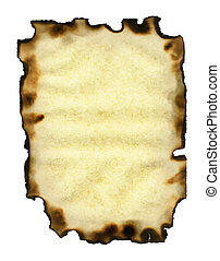 Old sheet of paper with burnt edges