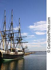 Old ship at dock