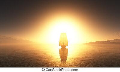 old ship at sea sunset illustration