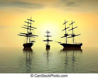 old ship at sunset over the ocean - digital artwork