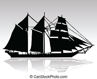 old ship black silhouettes