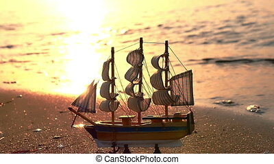 Old ship by the beach