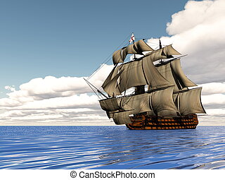 Old ship HSM Victory - 3D render - Beautiful detailed old ...