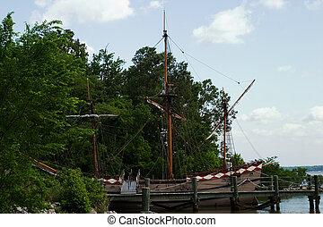 Old ship in Jamestown, Virginia, USA