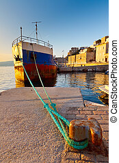 Old ship in the port of Hydra
