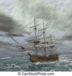Old ship in the storm - 3D render - Old ship lost in the...