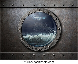 old ship metal porthole or window with sea storm behind it