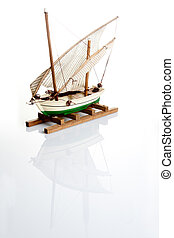 Old ship model isolated
