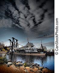 old ship on the lake