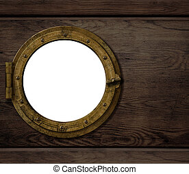 old ship or boat porthole on wooden wall