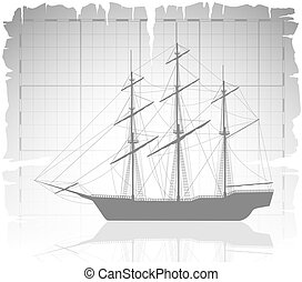 Old ship over ancient map with grid.