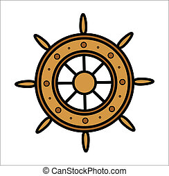 Old Ship Wheel - Vector