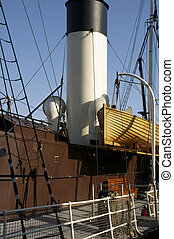 old ship with chimney