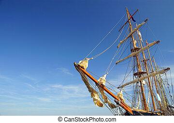 Old ship yard arm square rigging. Sailing ship's furled ...