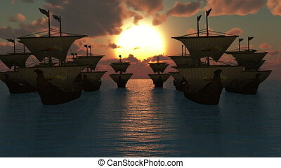 old ships sunset
