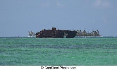 Old Shipwreck At Sea