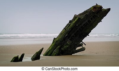 Old Shipwreck Buried In The Sand