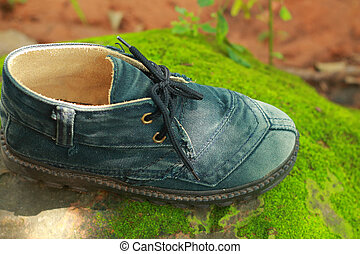 Old shoes on a moss green.