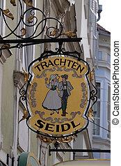 Old shop sign for Trachten Seidl in Graz, Austria - Old shop...