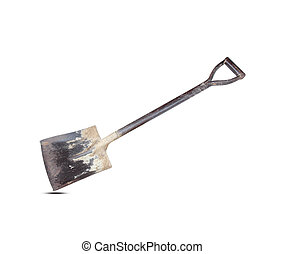 old shovel on white background
