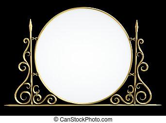 Decorative vintage sign isolated on black background