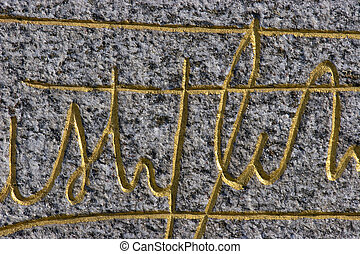 signature on stone - old signature on stone background...