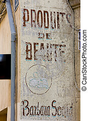 old signboard of shop in Aix-en-Provence, Provence, France