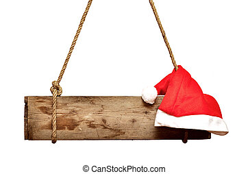 old signboard with Santa's hat isolated on a white background
