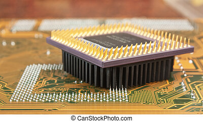 silicon chip - old silicon chip on the electronic board
