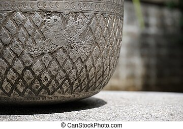 old Silver bowl with fly bird sculpture 1
