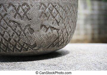 old Silver bowl with Thai folk dancer sculpture 1