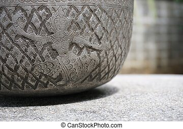 old Silver bowl with Thai folk dancer sculpture 1