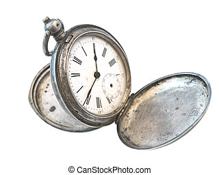old silver clock over the white background