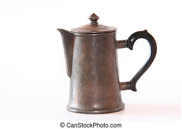 coffeepot - Old silver coffeepot on a white background
