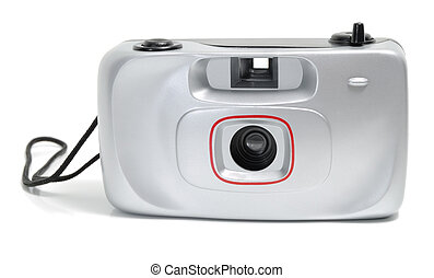 disposable camera - Old silver disposable camera isolated on...