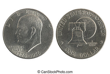 old silver dollar isolated