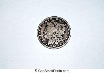 Old silver dollar.