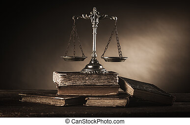 Old silver scale and books still life