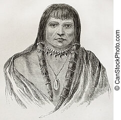 Old Sioux warrior engraved portrait. Created by Lancelot, published on Le Tour du Monde, Paris, 1864