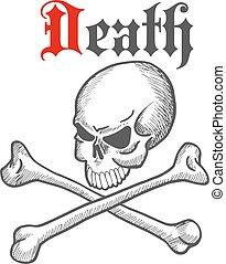 Old sketched skull with crossbones symbol