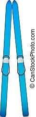 Old skis in blue design