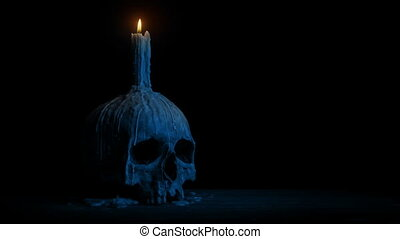 Old Skull With Candle At Night