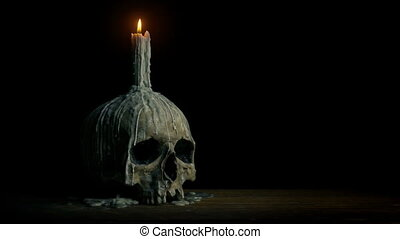 Old Skull With Candle On It
