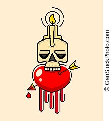 Old Skull with wax candle on head vector