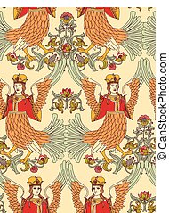 Old Slavic vintage ornament bird seamless pattern.