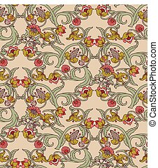 Old Slavic vintage ornament flowers seamless pattern.