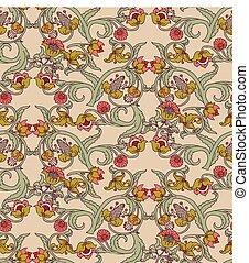 Old Slavic vintage ornament flowers seamless pattern.