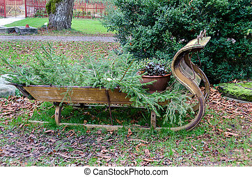 old sled made of three ow for decoration - old sled made of...