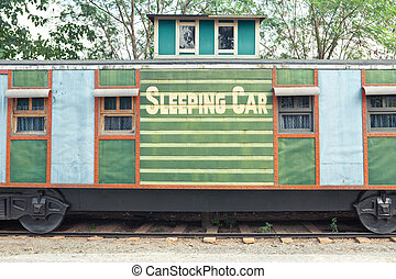 sleep train wagon  - old sleep train wagon in Western style