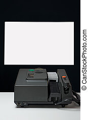old slide projector that projects on the wall